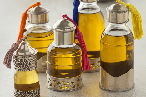 Moroccan bottles with organic cosmetic oil