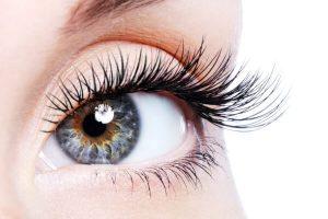 Grey eyes with long eyelashes