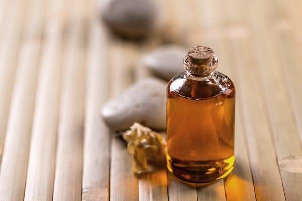 Bottle of pure cold pressed castor oil