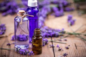 Bottles of argan and lavender essential oils