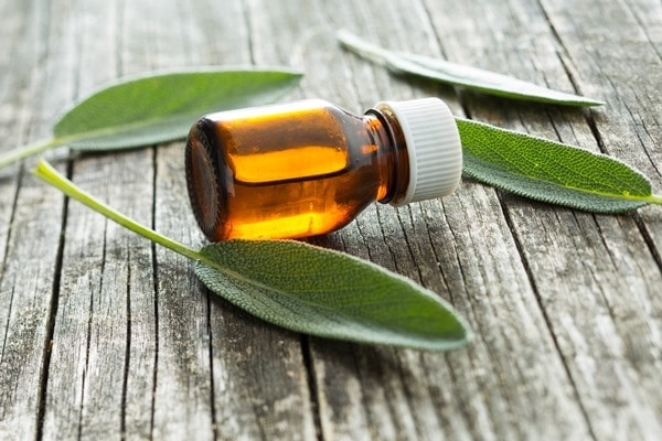 Bottle of sage essential oil