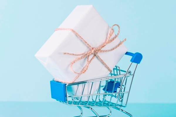 Wrapped gift in cart